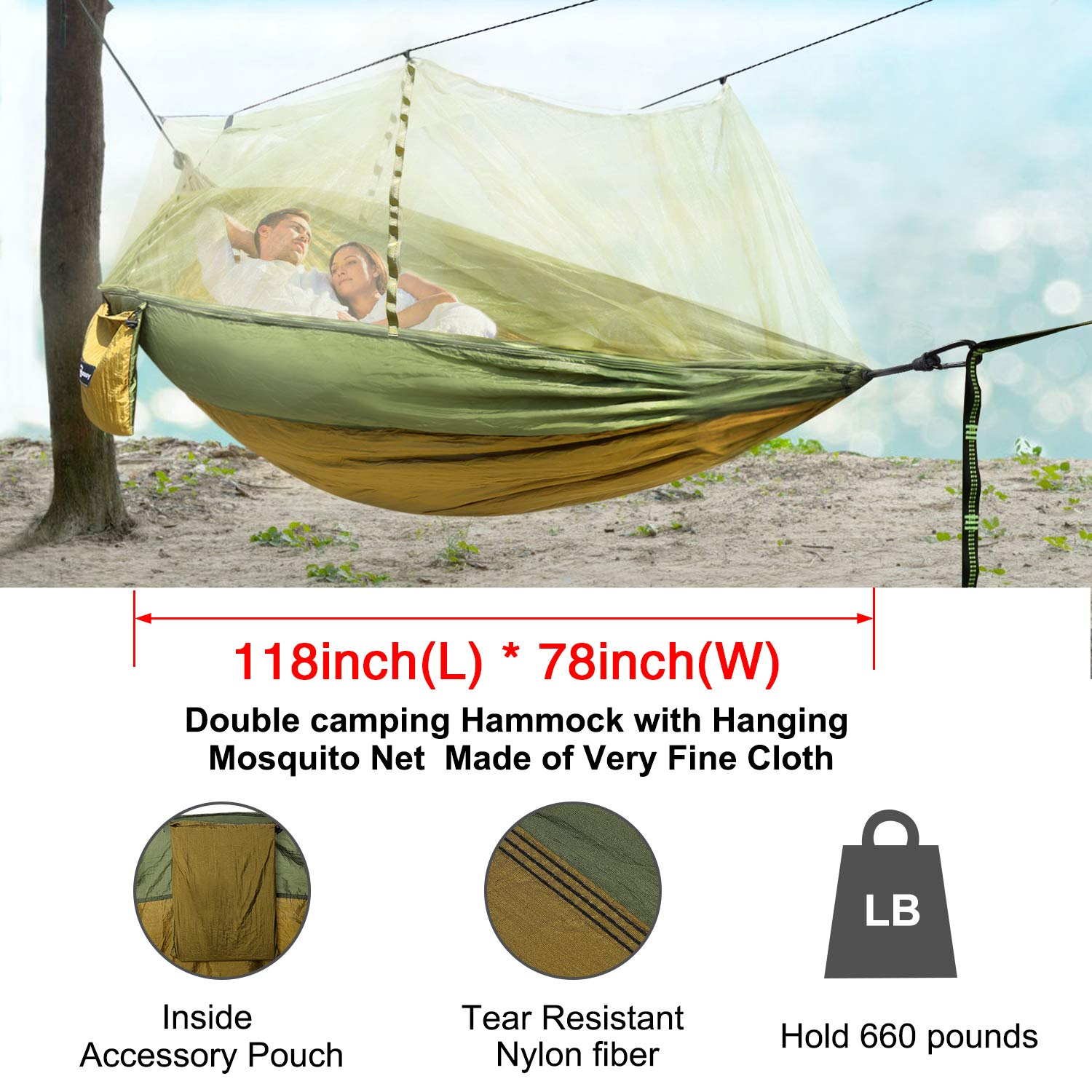 """118/""""x78/"""" Camping Tent Hammock With Mosquito Net Sunscreen Cover Shelter 660LBS"""