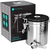 Coffee Gator Stainless Steel Container - Canister With Co2 Valve, Scoop And Ebook - Medium, Silver