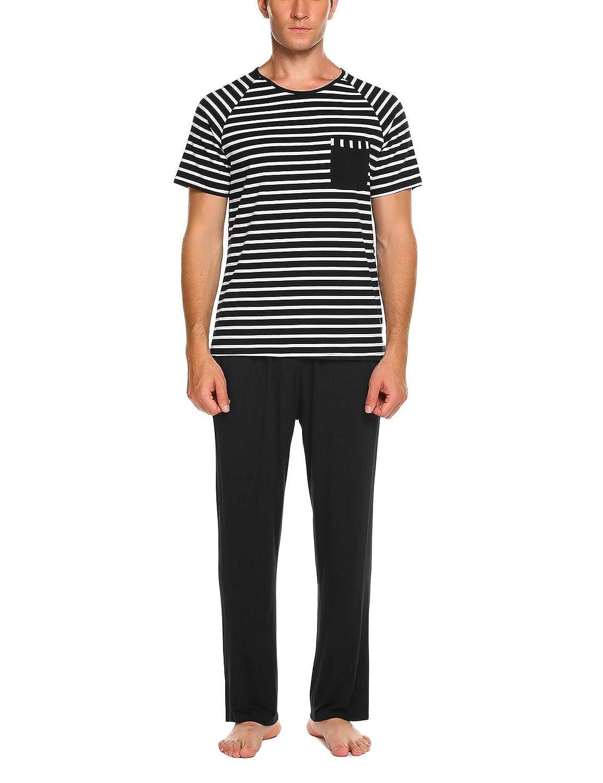 Black1 Vansop Women Pj Set Short Sleeve Top and Striped Pajama Pants Sleepwear SXXL