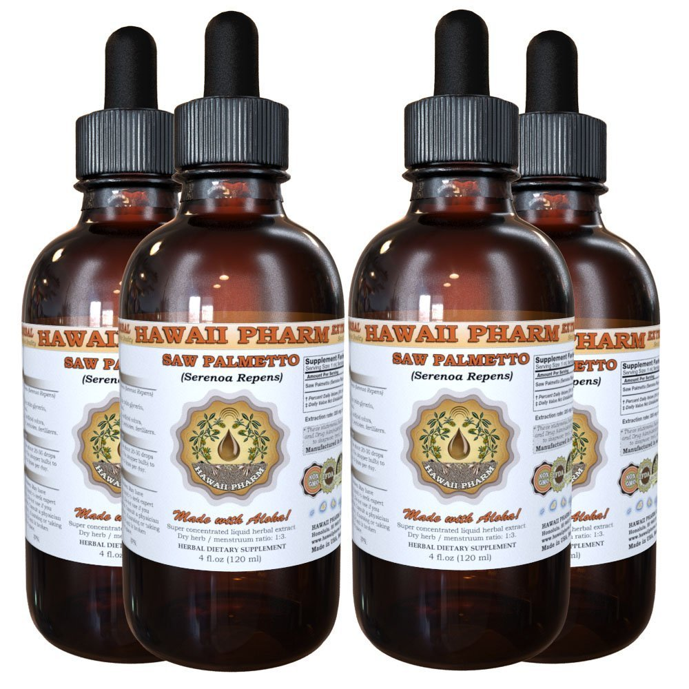Saw Palmetto Liquid Extract, Organic Saw Palmetto (Serenoa Repens) Tincture 4x4 oz