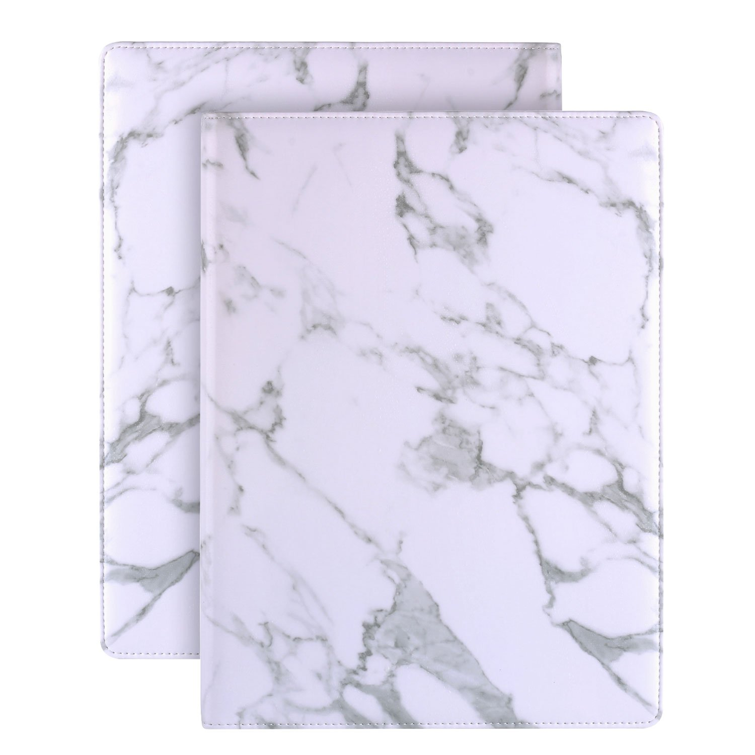 Plinrise Luxury Marble Portfolio File Folder Document Resume Organizer,Padfolio File Holder Folders Letter Size,Clipboard Folder with Writing Pad,Black Marbling … (White)