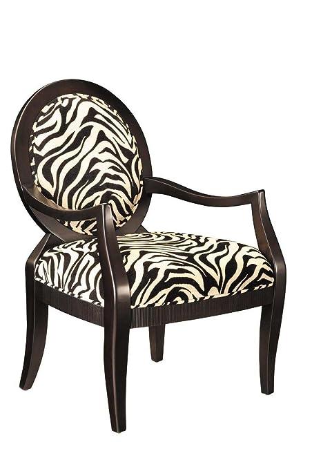 Amazon Com Zebra Oval Back Accent Chair Powell 502 936 Kitchen