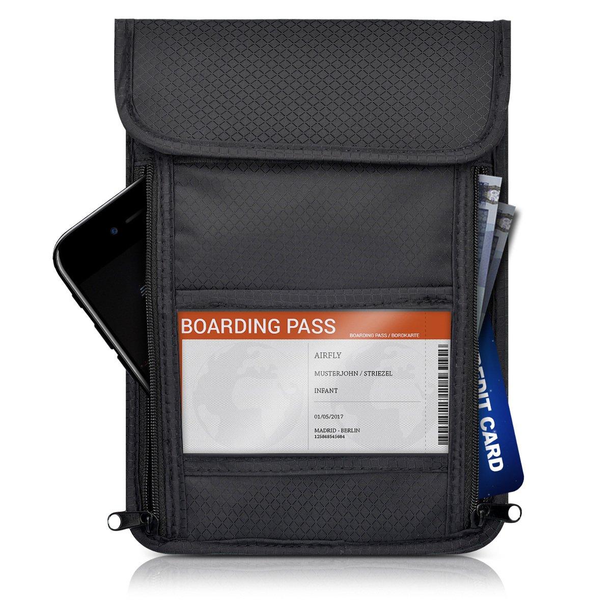 2efe4d6b22 kwmobile borsello da viaggio anti-RFID porta documenti: Amazon.it:  Elettronica