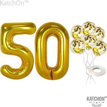 Amazon.com: Globos de confeti número 50 y dorados – grandes ...