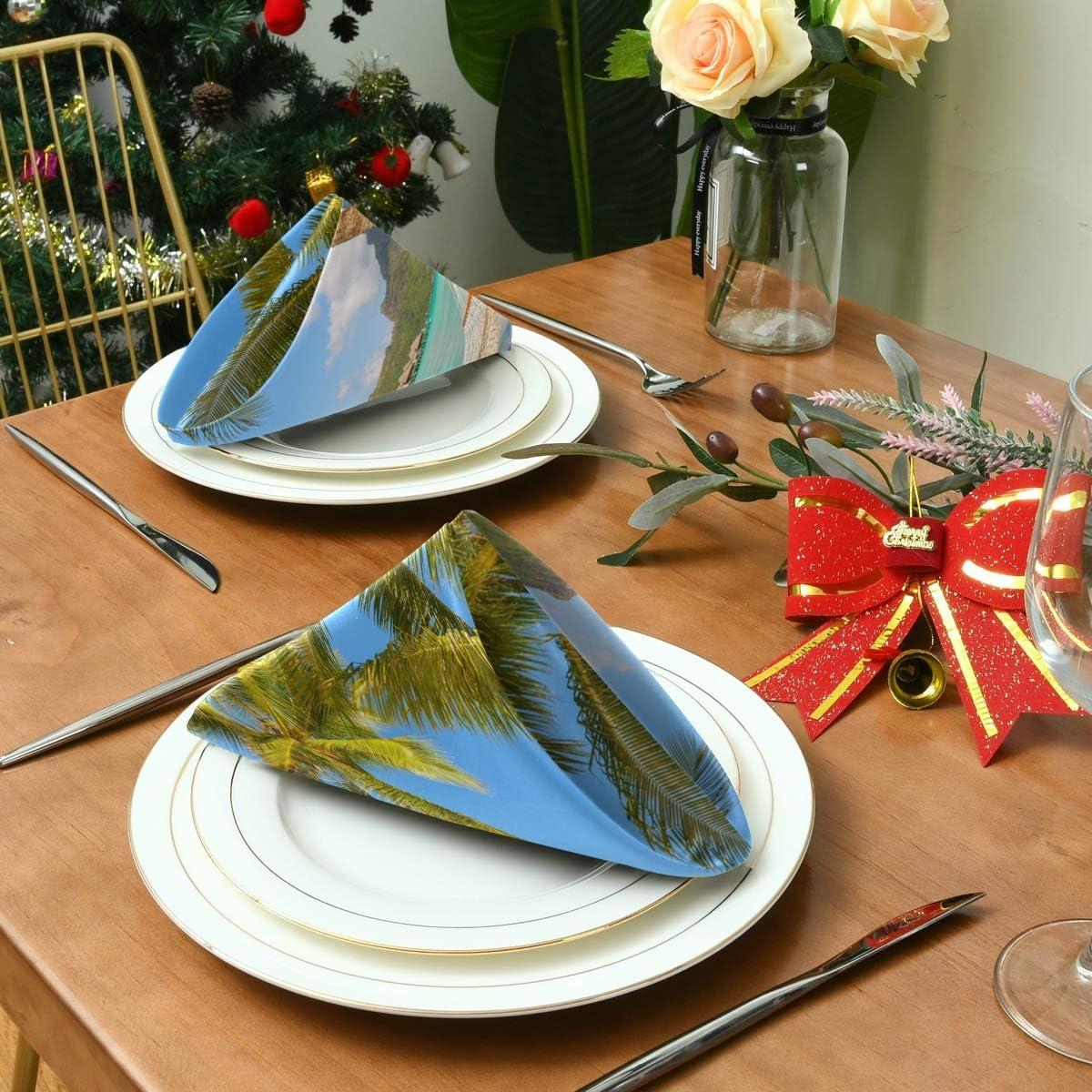 Lerous Napkins Palm Leaves Beach Party Wedding Luncheon Birthday Home Decor Soft Cloth Napkin 20x20 Inch Set of 1