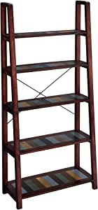 VASAGLE Ladder Shelf, 5-Tier Leaning Bookshelf with Solid Wood Legs, Bookcase for Living Room, Kitchen, Office, Country Brown ULLS05GL