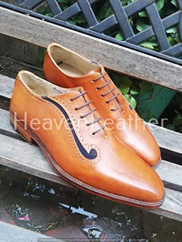 Handmade Men Tan Men's Dress Lace up