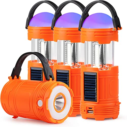 4 Pack 5 IN 1 Solar USB Rechargeable 3 AA Power Brightest COB LED Camping Lantern with S Charging for Device, Waterproof Collapsible Emergency Flashlight LED Light