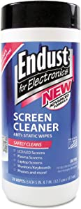 Endust 11506 Antistatic Cleaning Wipes, Premoistened, 70/Canister
