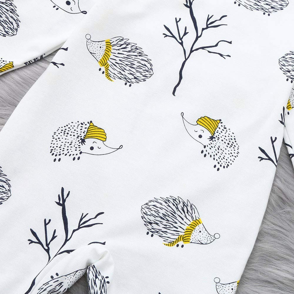 Mitlfuny Ni/ños Ni/ñas Mameluco Monos de Manga Larga para Beb/és Invierno Caliente Peleles de Dibujos Animados Erizo Estampado Interior Pijamas para Reci/én Ni/ña Nacido Ropa de Una Pieza 0-24 Meses