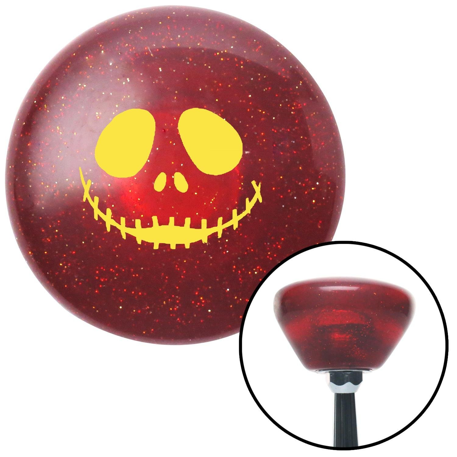 Yellow Jack Zippered Mouth American Shifter 193130 Red Retro Metal Flake Shift Knob with M16 x 1.5 Insert