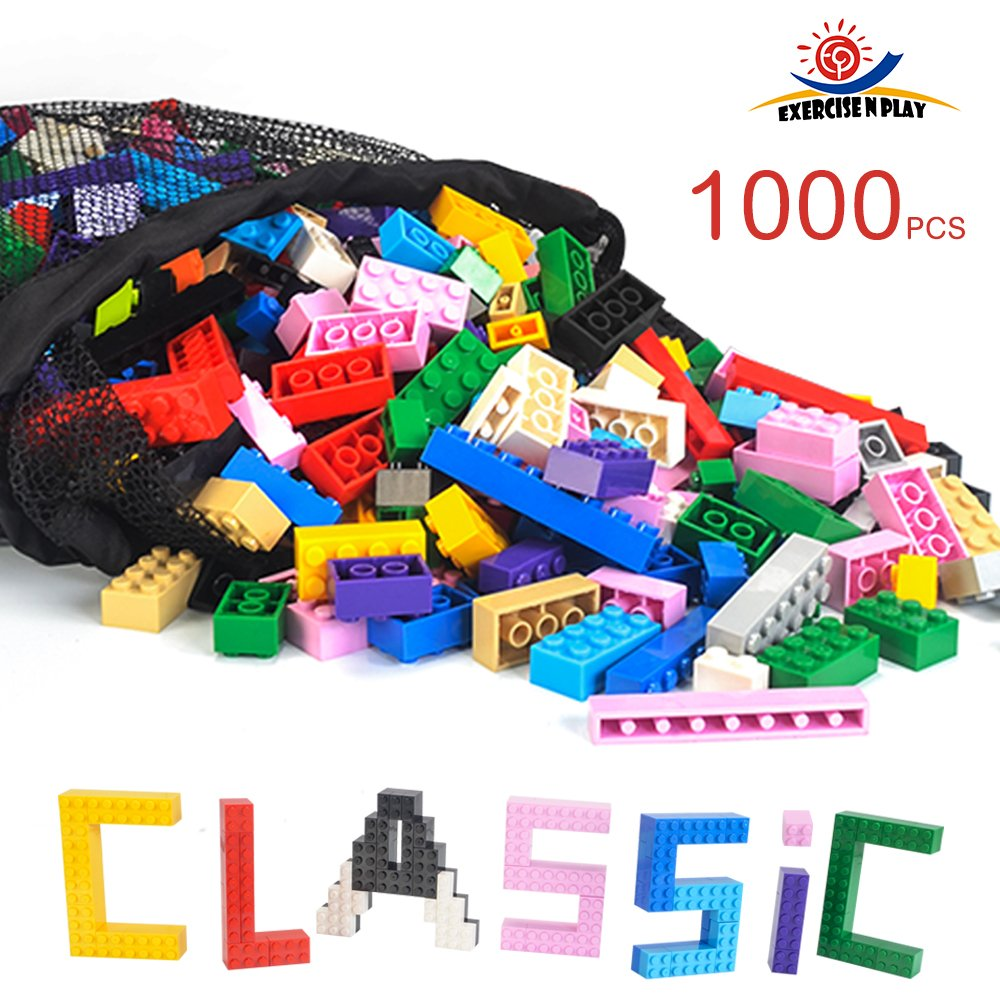 EP EXERCISE N PLAY 1166 Piece Building Bricks Kit with Wheels, Tires, Axles, Windows ,Doors and Leaves, Flowers,Grass - Classic Colors - Compatible with All Major Brands(Colorful-1, 1166pcs)