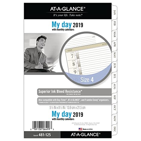 AT-A-GLANCE 2019 Daily Planner Refill, Day Runner, 5-3/4