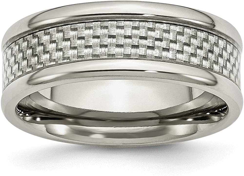 Jewelry Stores Network Mens 8mm Polished Stainless Steel and Grey Carbon Fiber Wedding Band Ring
