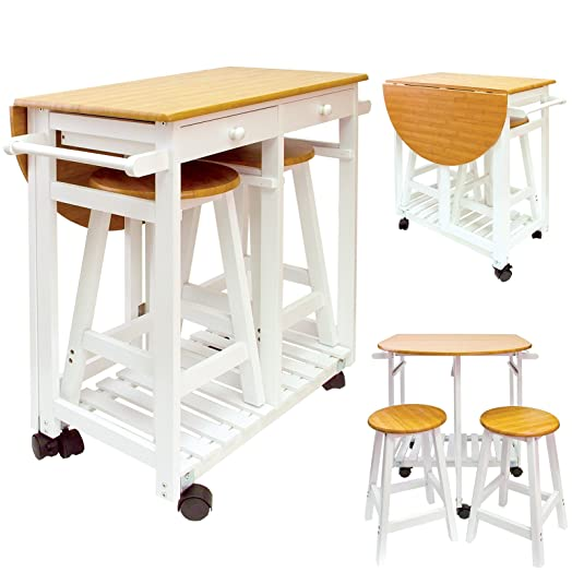 Kitchen Trolley With 2 Stools Storage Wooden 2 Drawers Portable Folding Wheeled  sc 1 st  Amazon UK & Kitchen Trolley With 2 Stools Storage Wooden 2 Drawers Portable ... islam-shia.org