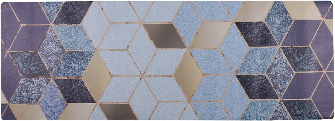 U'Artlines Anti Fatigue Kitchen Floor Mat, Comfort Heavy Duty Standing Mats, Waterproof PVC Non Slip Washable for Indoor Outdoor (20x55Inch, Geometric Patterns Blue)