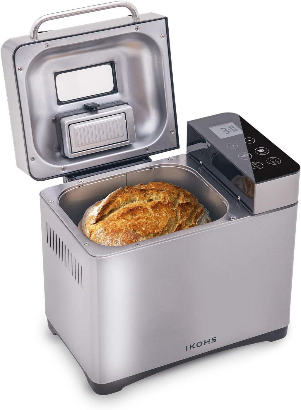 IKOHS Panificadora DEPAN 710-IK - Panificadora Automática, 750W, LCD, 17 Programas Automáticos para Bizcochos, Masas, Mermeladas,Yogur, Digital, Incluyen Accesorios, Capacidad de 900 Gramos (Gris)