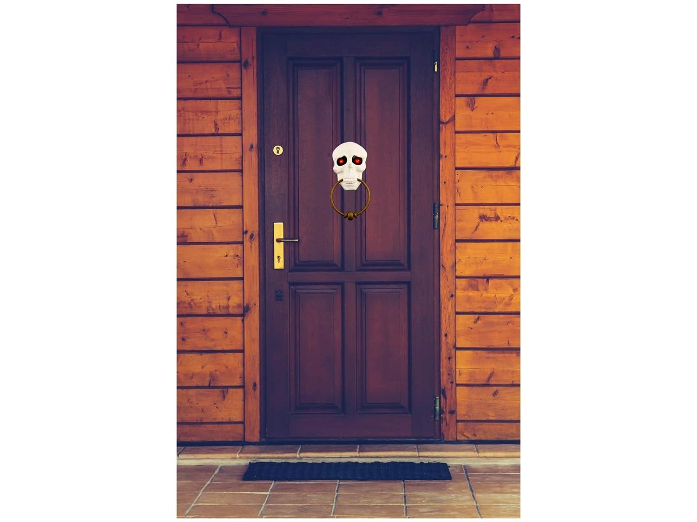 White with Gold Door Knocker Ring, 11.5 in long x 6 Halloween Scary Doorbell