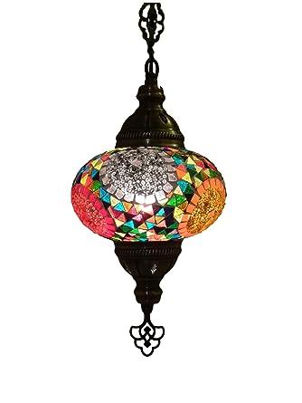 Lámpara de mosaico colgante oriental (lámpara turca) ø 16 cm ...