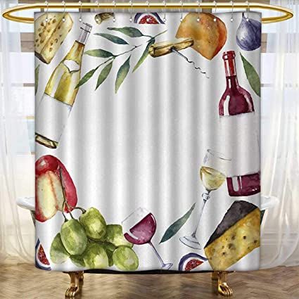 Anhounine Wine Shower Curtain Collection By Round Frame With Hand Painted Food Objects Watercolor Cheese