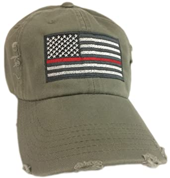 BlvdNorth Thin Red Line American Flag Hat cap Olive Green Support ... 61dfb49ade6