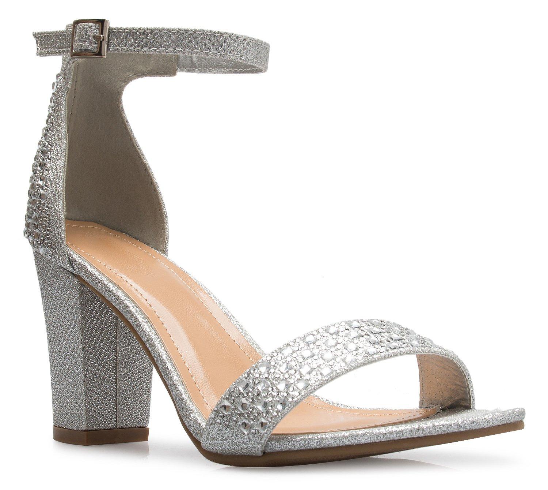 OLIVIA K Women's Sexy Dress Shoes - Open Toe Glitter Rhinestone Ankle Strap Block Heel Sandals - Buckle, Zipper