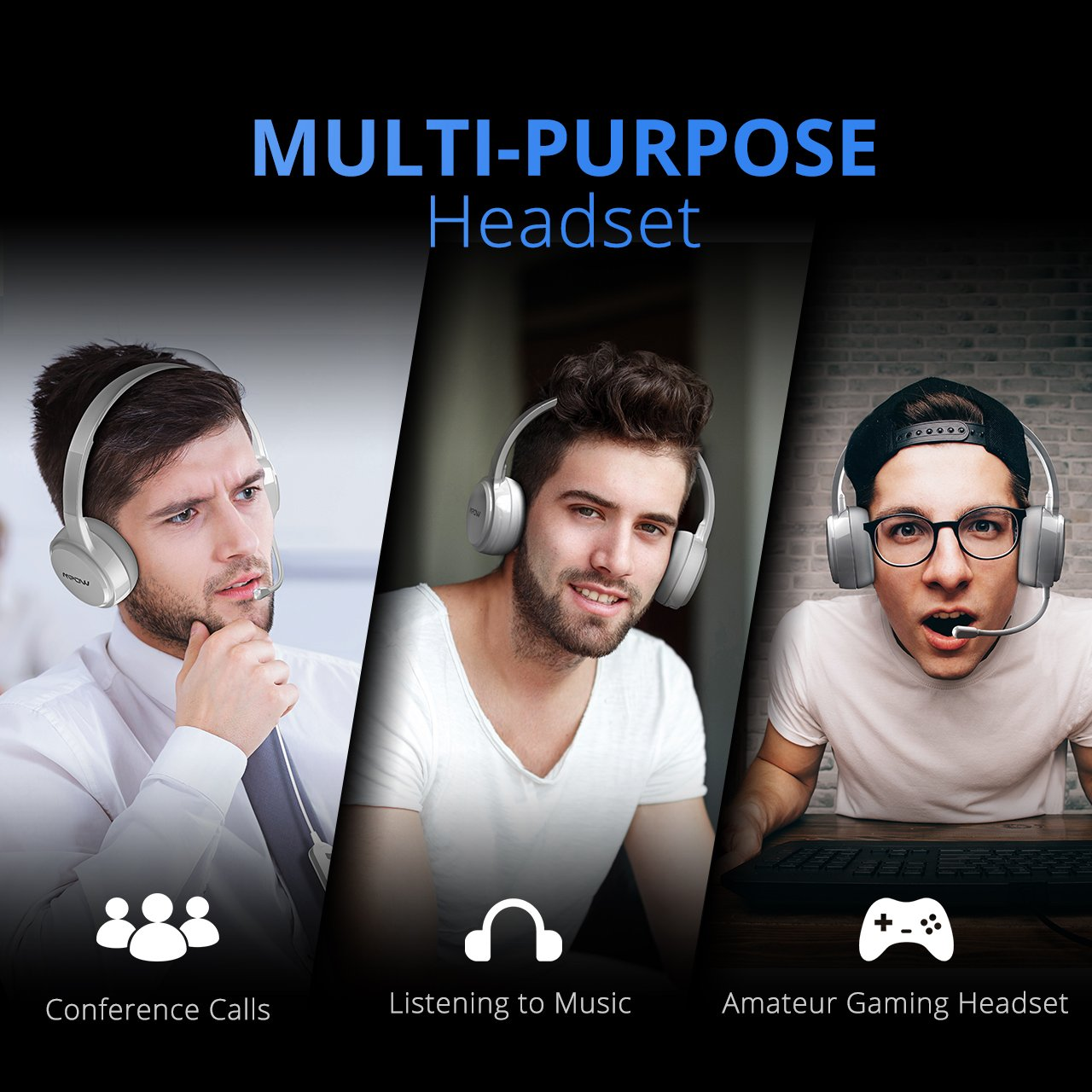 Mpow 071 USB Headset/ 3.5mm Computer Headset with Microphone Noise Cancelling, Lightweight PC Headset Wired Headphones, Business Headset for Skype, Webinar, Phone, Call Center PAMPBH125AD-USAA7
