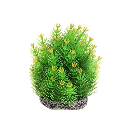 Daxibb planta acuática artificial exquisito adorno pecera acuario decoración de primer plano, plástico, Amarillo