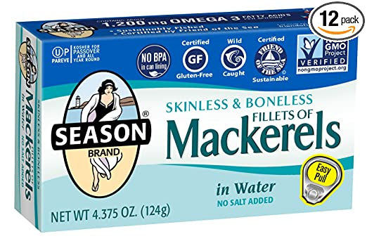 Season Skinless & Boneless Mackerels in Water, No Salt Added, 4.375-Ounce Tins (Pack of 12)