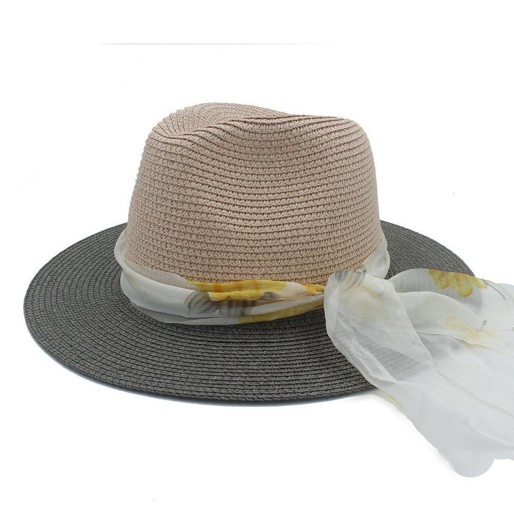 HYF Cappello della Spiaggia della Paglia delle Donne del Cappello del Feltro di Sun delle Signore con Il Nastro del Panno per Il Cappello di Fedora di Bowknot della Signora Elegante Panama