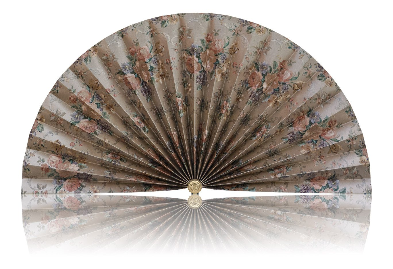 Neat Pleats Decorative Fan, Hearth Screen, or Overdoor Wall Hanging - L456 - Light Gold with Roses Flower Floral by Neat Pleats