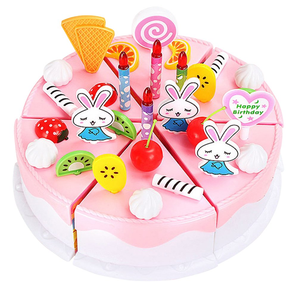 Amazon Super1798 Funny Birthday Party Cake Cutting Knife Cup Plate Kid Pretend Play Toy