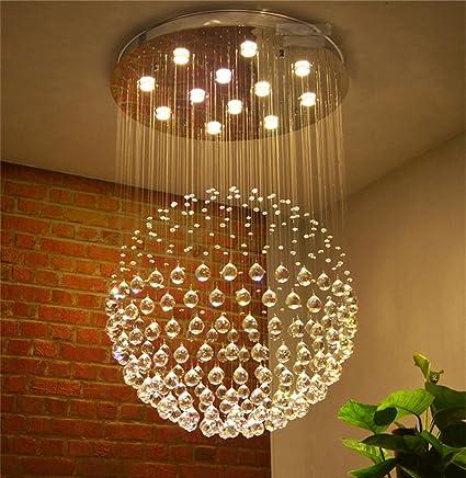 YU-Ligero Casa Lámpara de Cristal de LED, Redondo Modernas ...
