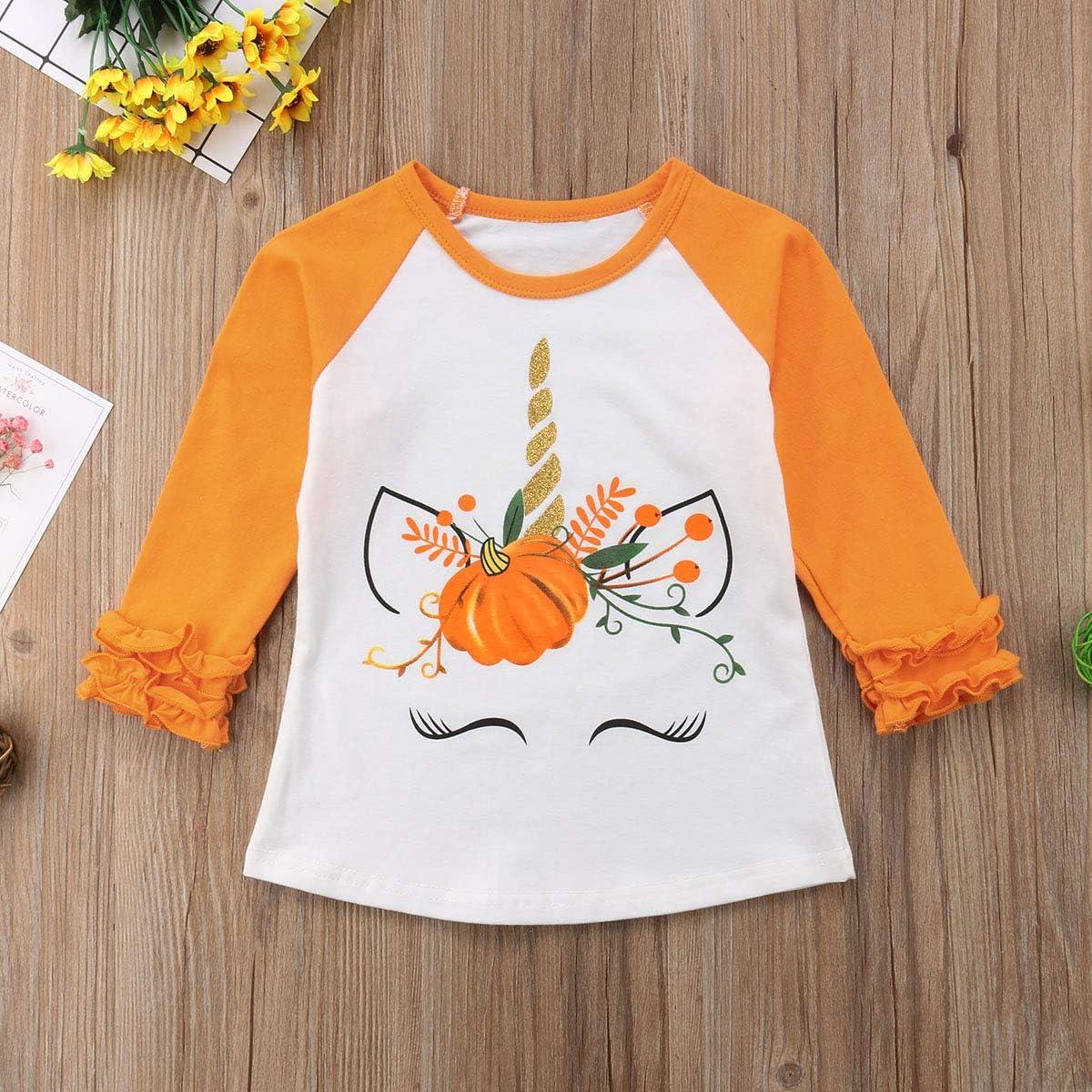 Toddler Baby Girls Halloween Long Sleeve Unicorn Pumpkin Printed Ruffles T-Shirt Blouse Tops Clothes Outfits