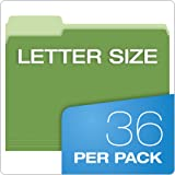 Pendaflex Two-Tone Color File Folders, Letter Size, Assorted Colors (Bright Green, Yellow, Red, Blue), 1/3-Cut Tabs, Assorted, 36 Pack
