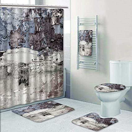 Nalahome 5 Piece Bathroom Set Includes Shower Curtain Liner Drawn Oil Texture Brushstrokes
