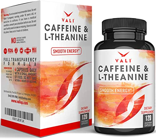 Caffeine 50mg L-Theanine 100mg Pills for Smooth Energy, Focus, Clarity – 120 Veggie Capsules. Natural Cognitive Performance Stack for Focused Mind Body. Smart Low Dose Boost No Jitters No Crash