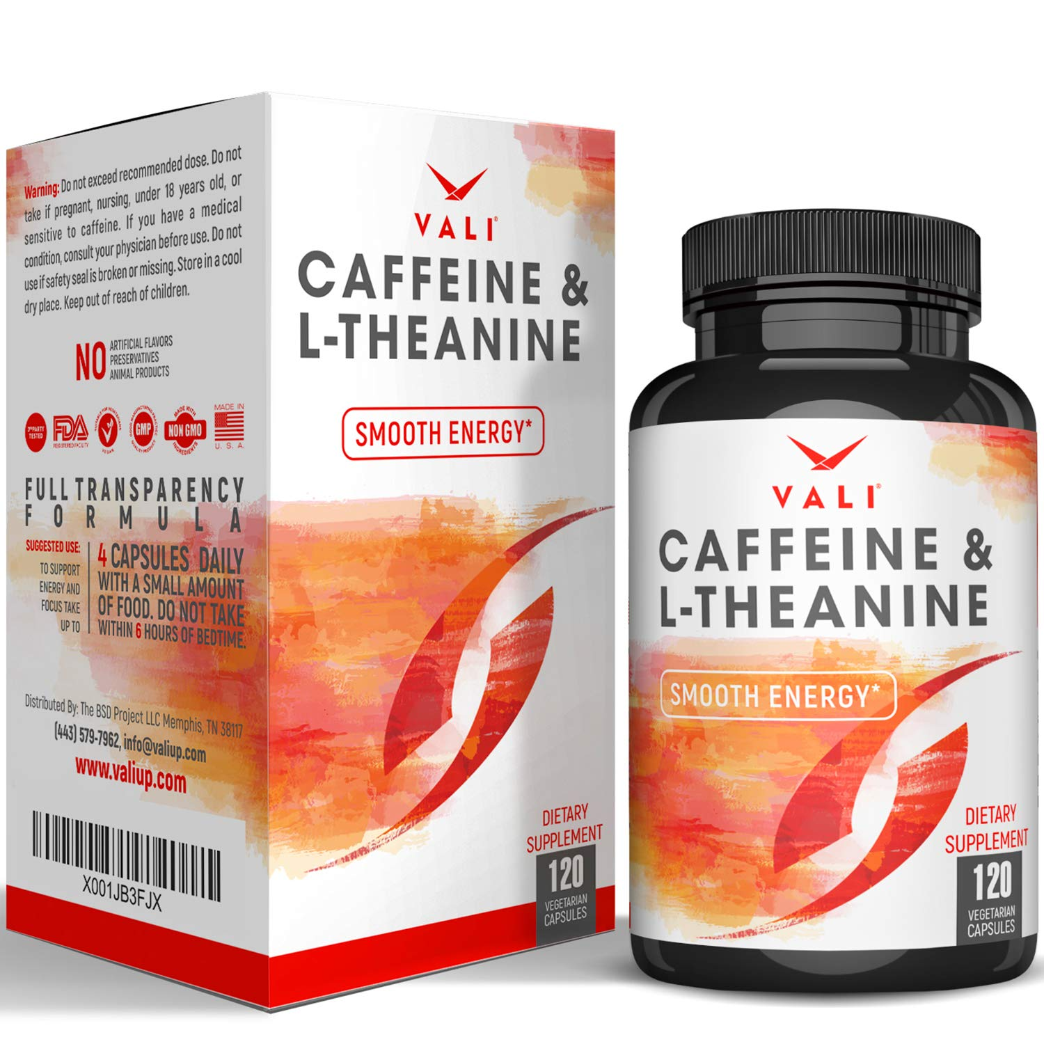 Caffeine 50mg with L-Theanine 100mg Pills for Smooth Energy, Focus, Clarity - 120 Veggie Capsules. Natural Cognitive Performance Stack for Focused Mind & Body. Extra Strength, No Jitters & No Crash by VALI