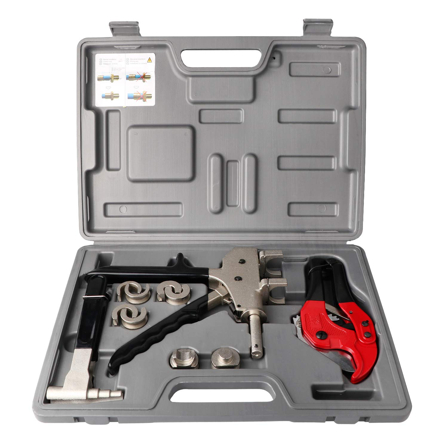 GETUHAND PEX-1225 Plumbing Tool Set Range 12-25mm Used for REHAU PEX Fittings with Pex Pressing and Expanding Tools,Tube Cutter,Cradle