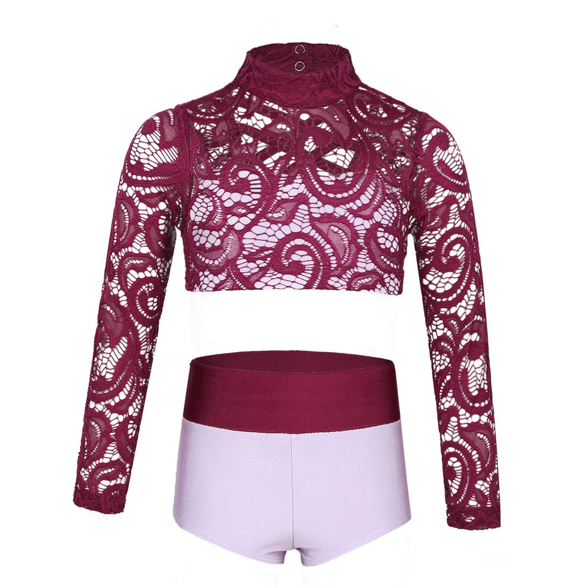 Yeahdor Girls Kids 2 Pieces Athletic Dance Outfits Long Sleeve Top with High Waisted Shorts for Dancing Workout Gymnastics