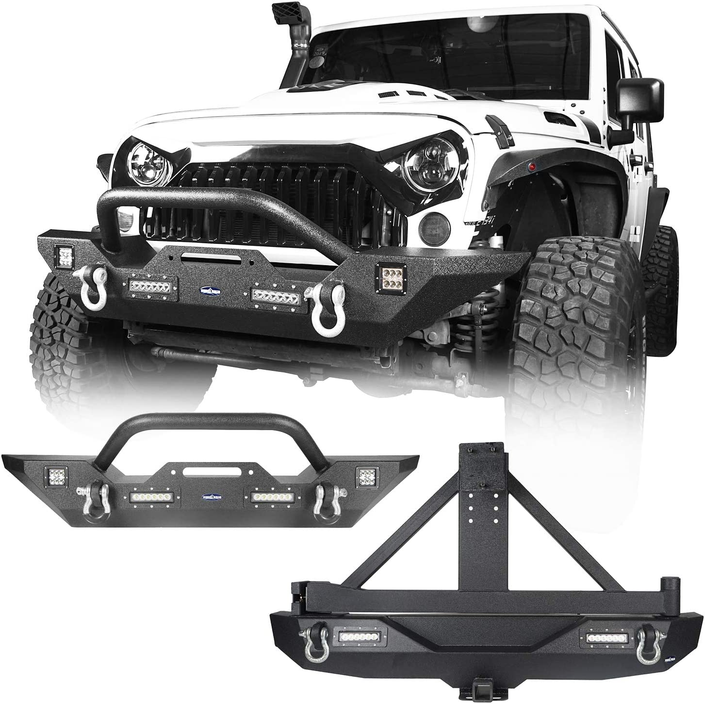 2 Receiver ECOTRIC For 2007-2018 Jeep Wrangler JK Steel Rear Bumper Textured Black w//Lockable Tire Carrier 2Pcs High Powered LED Floodlights