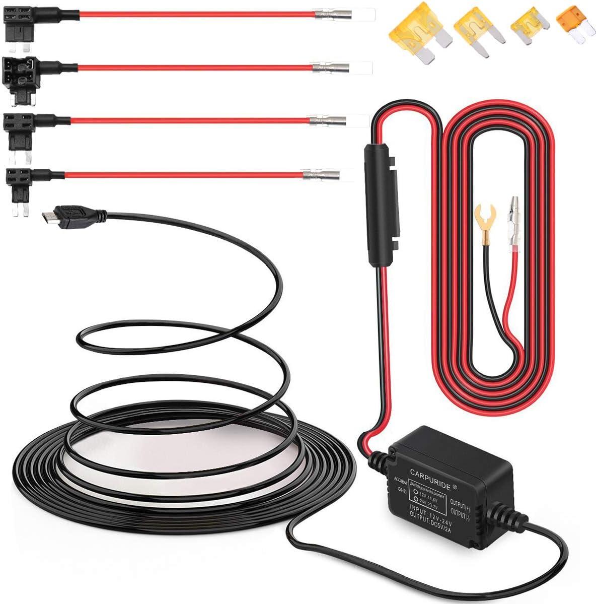 Dash CAM Hardwire Kit Micro Alambre Duro Coche Cargador Kit de Cable USB 12V - 24V a 5V para cámaras Dash GPS