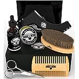 Beard Kit 6-in-1 Grooming Tool   Best Mustache & Beard Care Set for Men   Natural Balm, Unscented Oil, Boar Bristle Brush, Wo