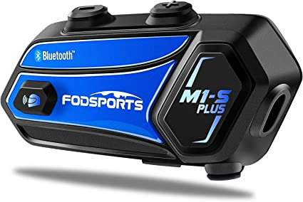 Casco Moto Cuffie Fodsports M1S Plus Interfono Moto Bluetooth con Condivisione di Musica blu Moto Auricolare Bluetooth con Microfono Muto,Comunicazione Bluetooth per Moto Fino a 8 Riders