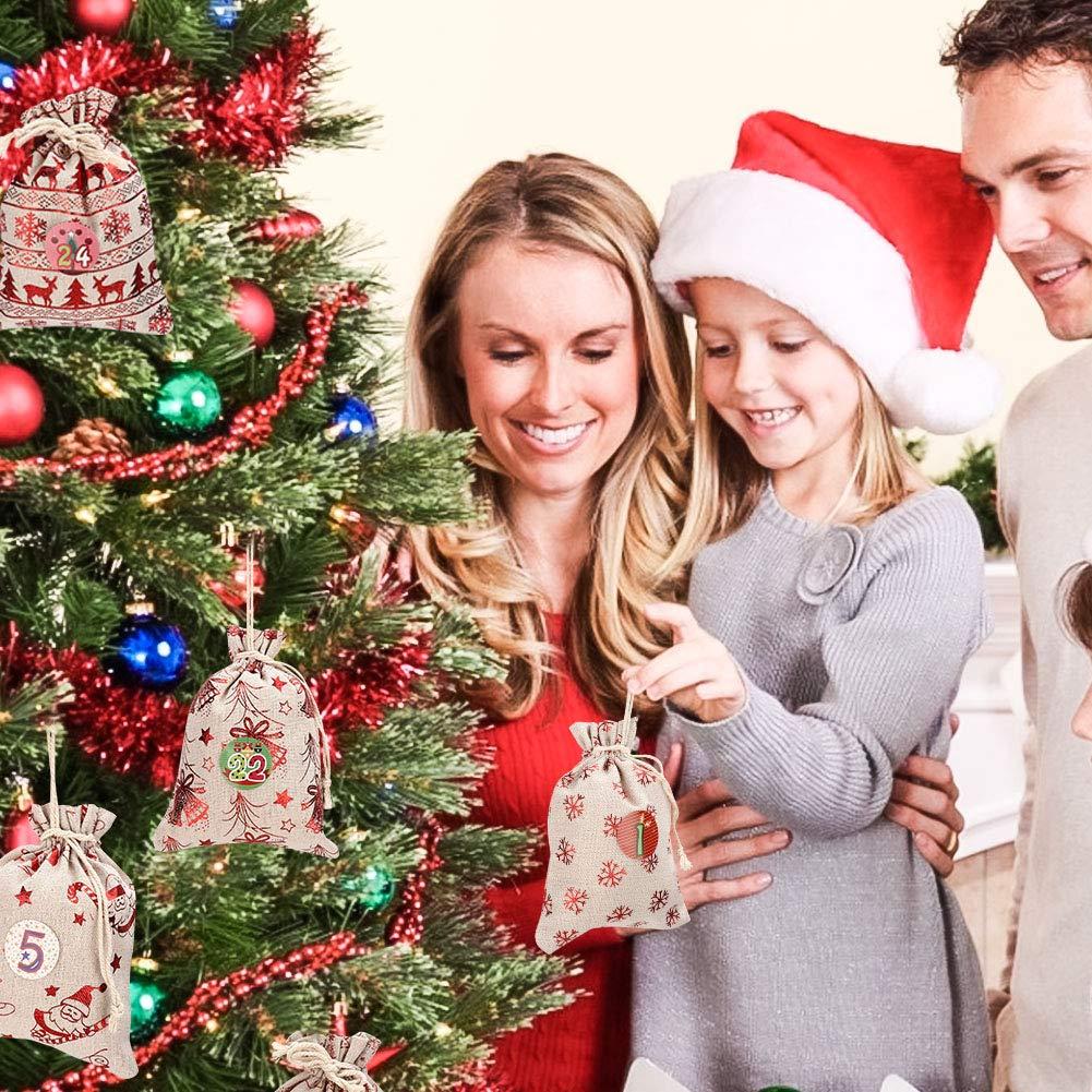 24 PCS -12 Patrones Bolsa de Regalo Navidad Decoraci/ón Navide/ña para el Hogar Set de 24 Bolsas de Yute para Rellenar con Calendario de Adviento Casero Wokkol Calendario de Adviento