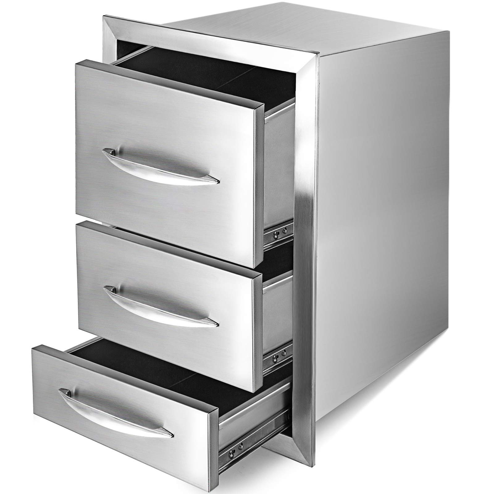 Mophorn 15''x21'' Outdoor Kitchen Drawer Stainless Steel Triple Access Drawer BBQ Storage with Chrome Handle Flush Mount Sliver by Mophorn (Image #3)