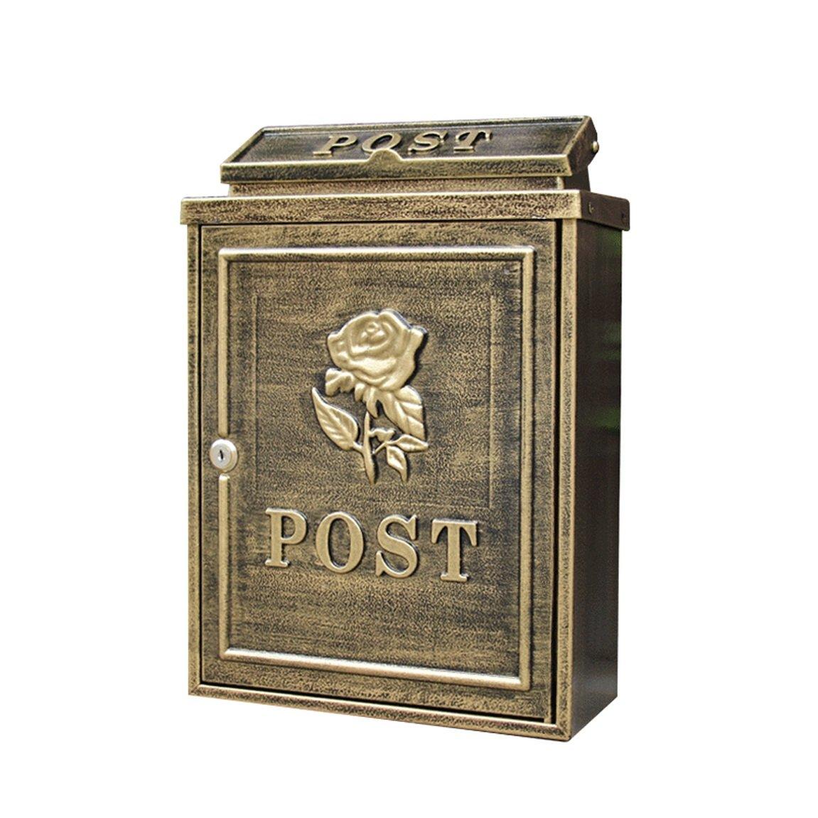 LRW ヨーロッパスタイルの郵便箱屋外の雨の証拠の水の倉庫の郵便受けの壁の壁のロックのポスト箱Idyllic創造的な郵便の箱、アンティークの黄金のローズ、壁の装飾   B07HP6R5Y1