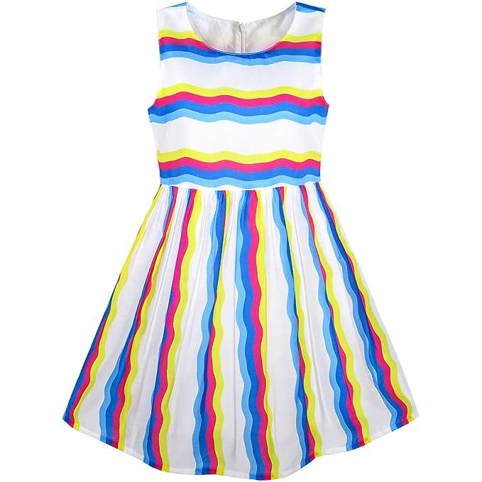 KR61 Sunny Fashion Vestido para niña Colorido Rayado Fiesta Sol 7 años