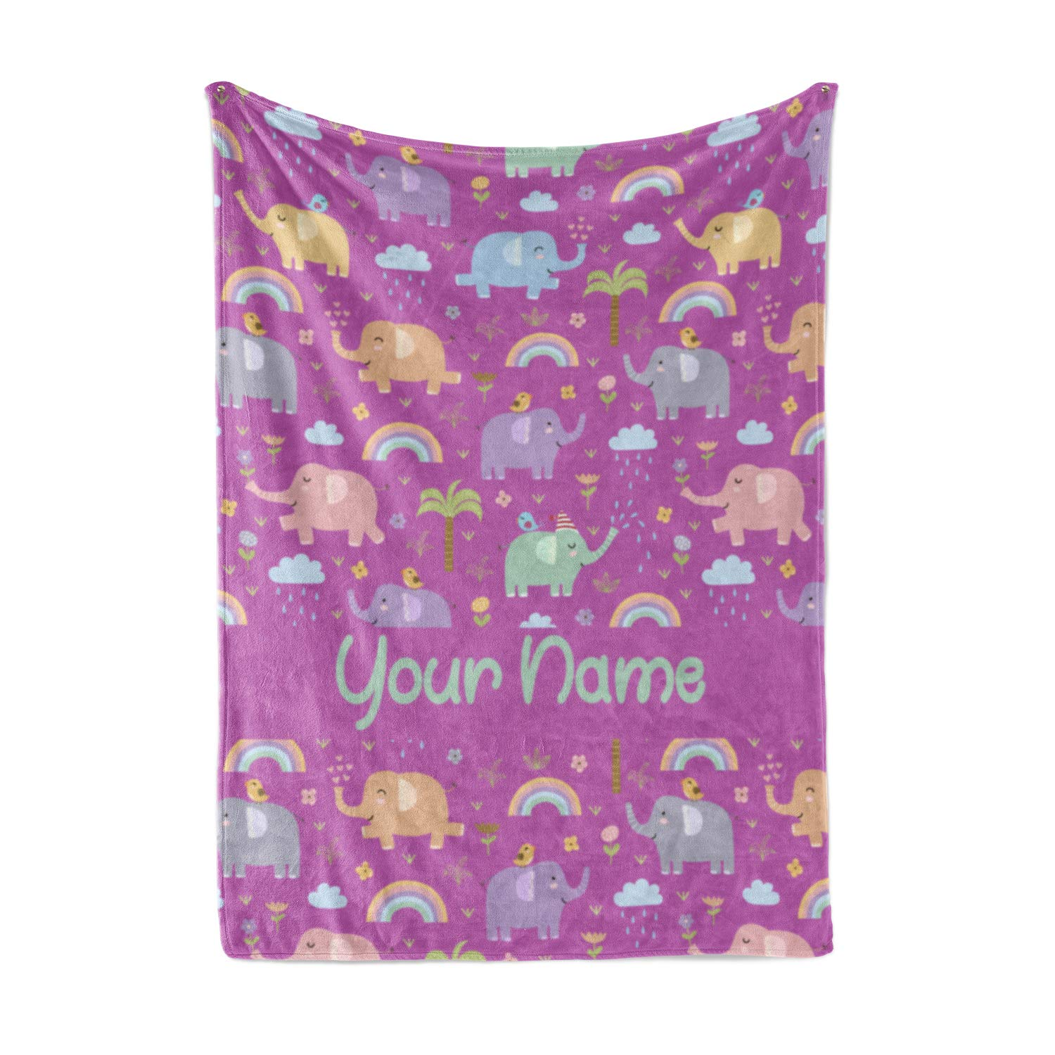 Personalized Corner Custom Elephant Pattern Purple Fleece Throw Blanket for Kids - Boys Girls Baby Toddler Infants Blankets for Bed (Baby/Pet 30''x40'') by Personalized Corner