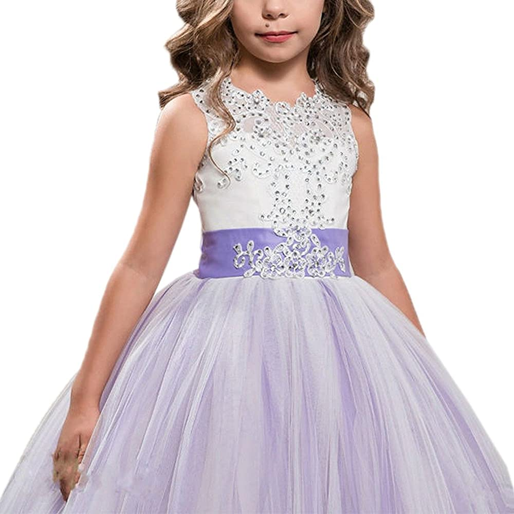 Girls Fancy Gown Prom Frock Birthday Puffy Vesture Long Girl Outfit Beautiful Ankle Garment Purple Fur Dress Floral Kid Costume